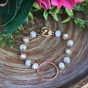 Jewelry - Rose Gold Circle & Bead Bracelet 🌟Handmade NEW